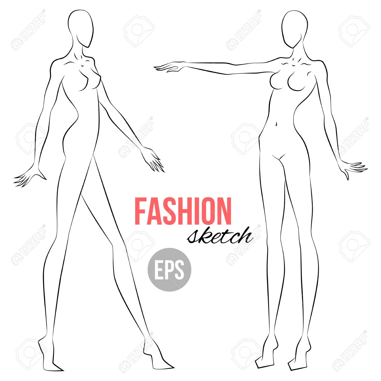 Woman S Figure Sketch Different Poses Template For Drawing Royalty Free Cliparts Vectors And Stock Illustration Image 97069525