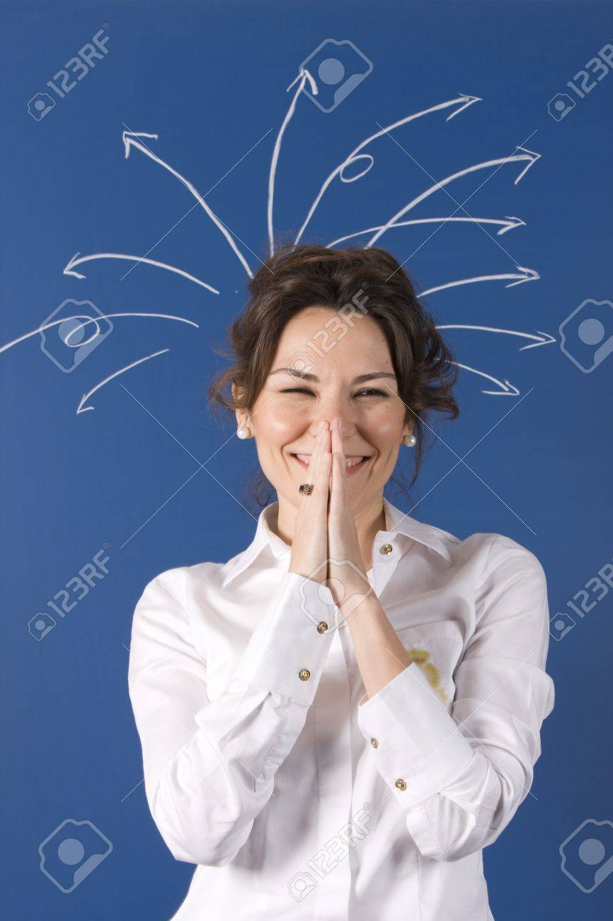 woman with lots of arrows coming out of his head Stock Photo - 11310687