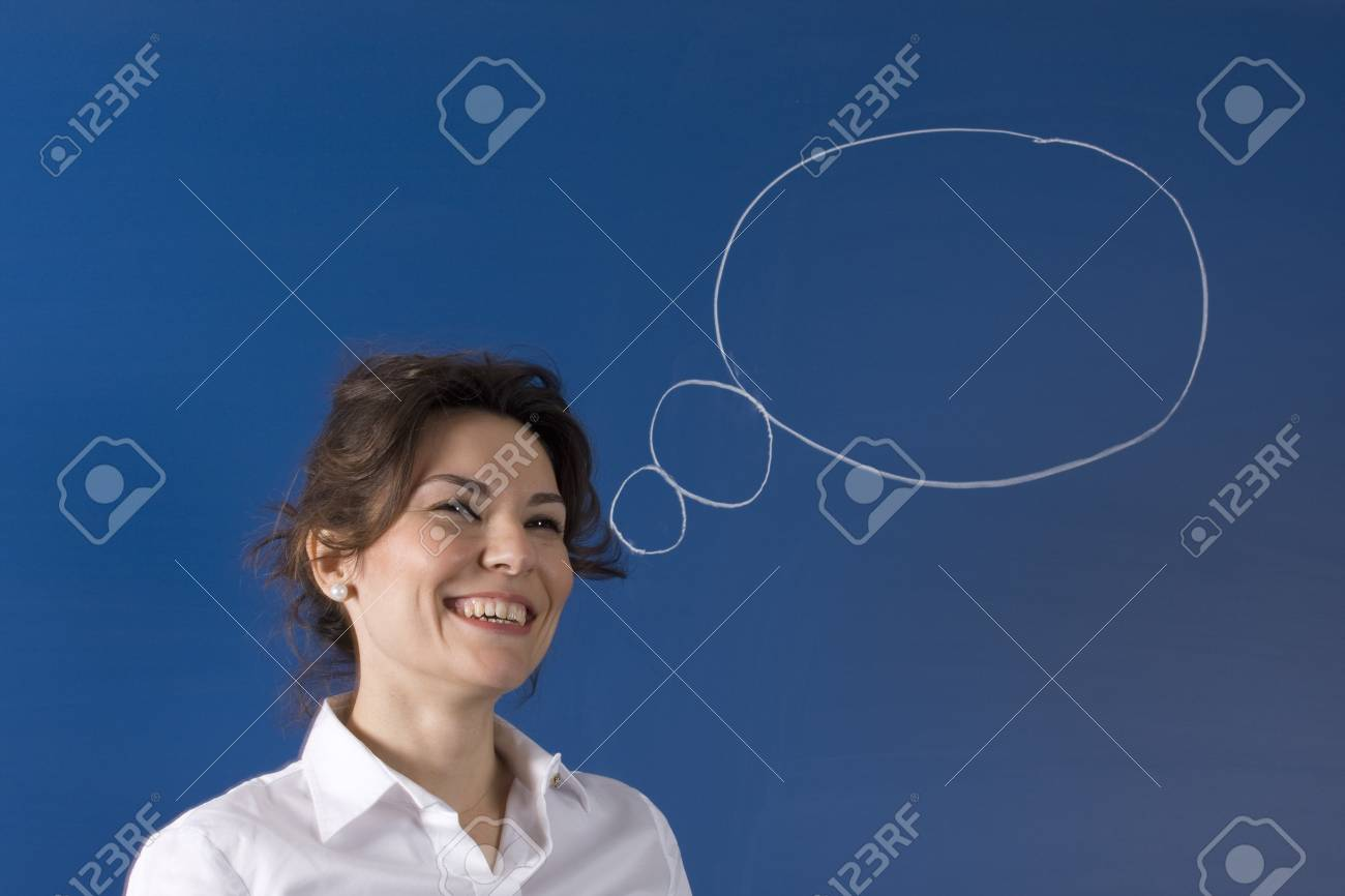 Image of young woman thinking on green board Stock Photo - 11557922
