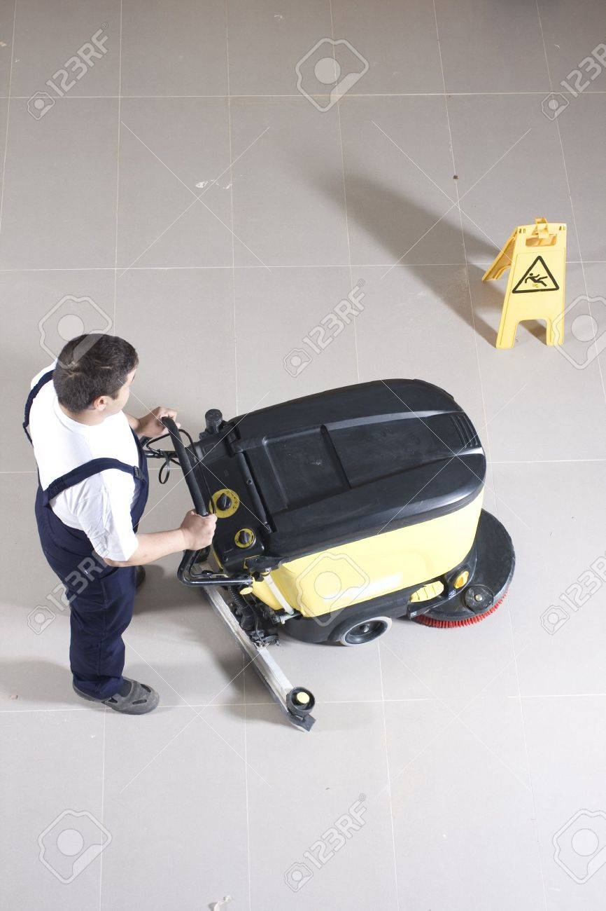 cleaning floor with machine Stock Photo - 12751946