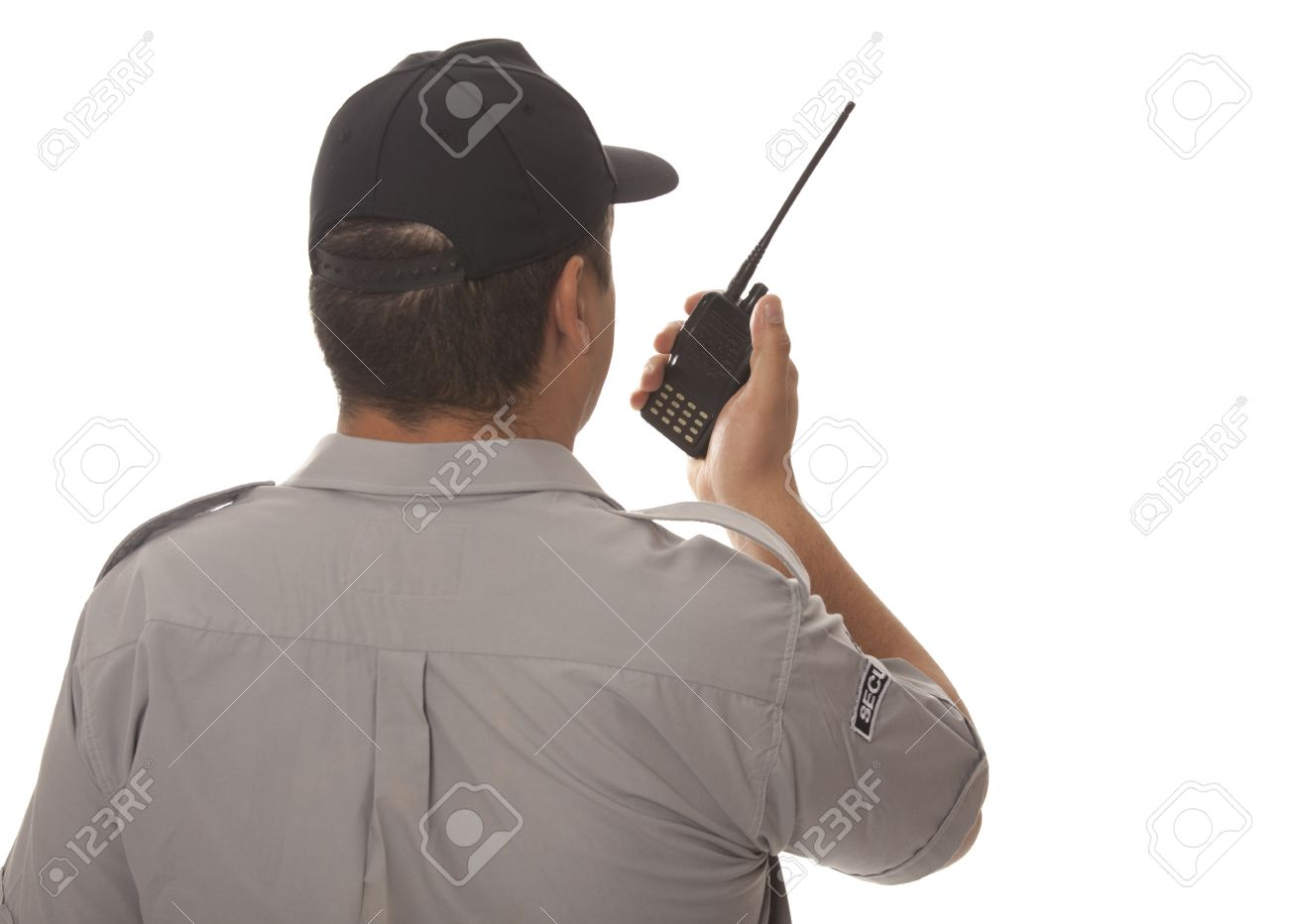 Security guard hand holding cb walkie-talkie radio Stock Photo - 14290474