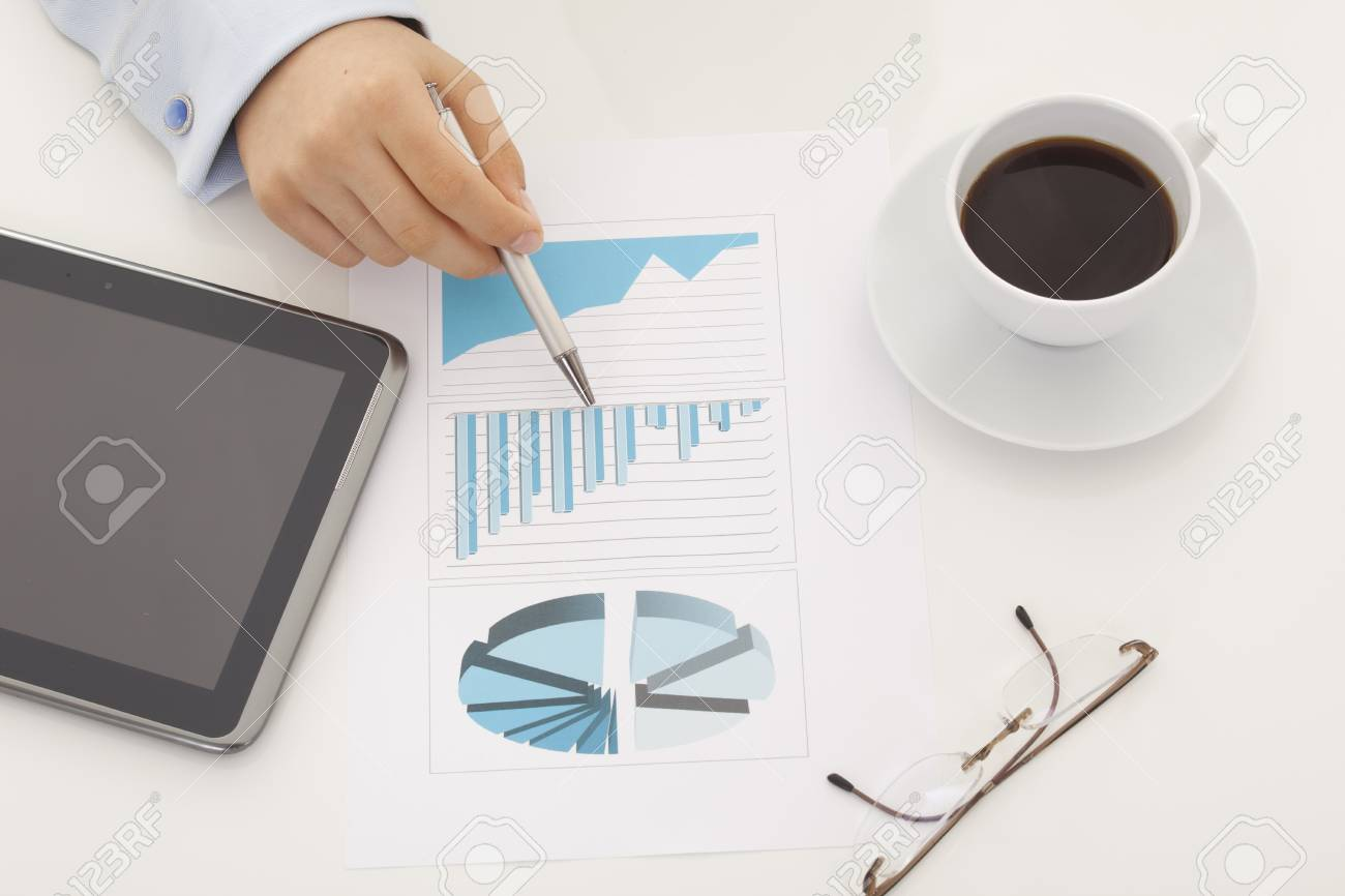 Business background, financial data concept with pen Stock Photo - 18214023