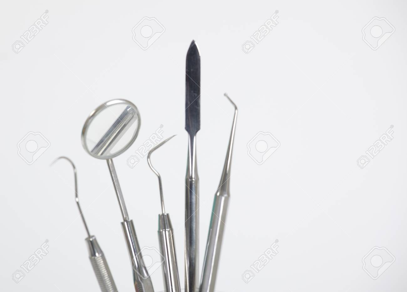 Set of metal medical equipment tools for teeth dental care Stock Photo - 19656314