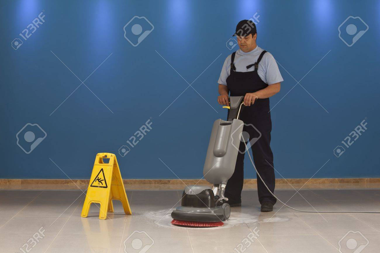 cleaning floor with machine Stock Photo - 20677782