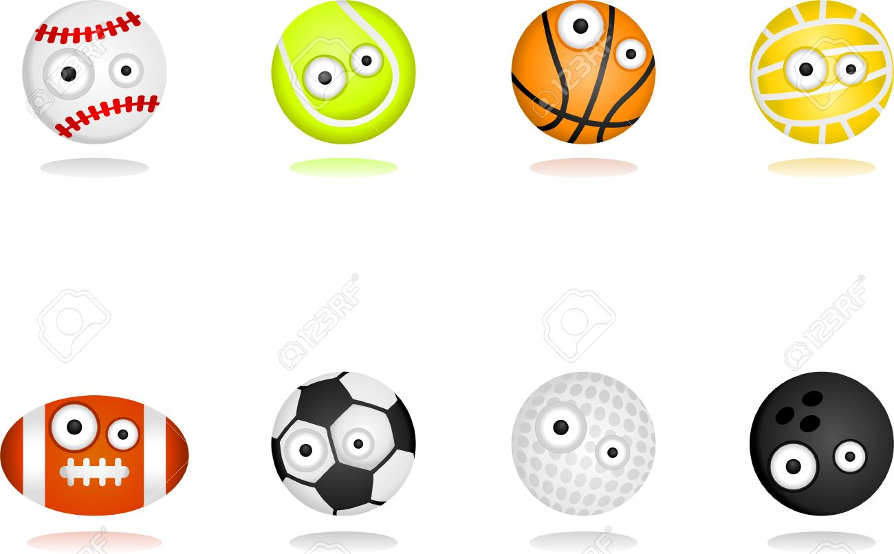 8 cartoon character sport ball set.  Separate layers for easy editing Stock Vector - 6716941