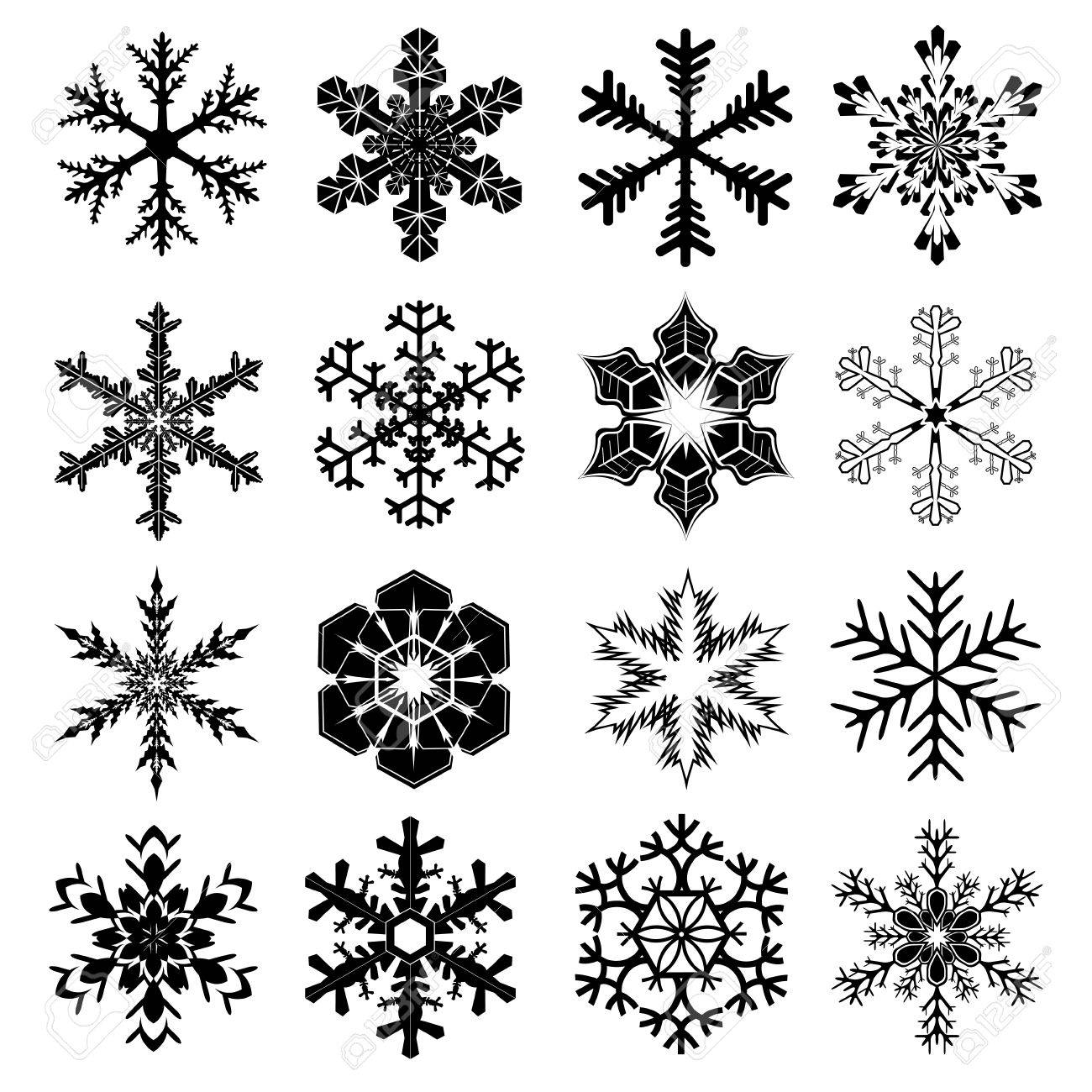 snowflakes set with 16 snow crystals for christmas and winter design in black with white background