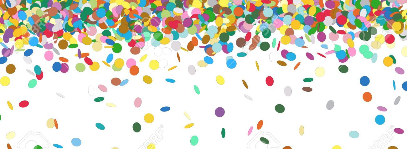 confetti rain colorful panorama background template falling
