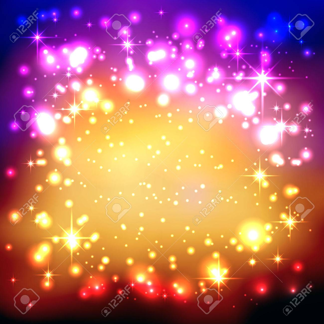 Colorful Gradient Background with Twinkling and Glittering Stars. Free Space for Advertising or Text. Greeting Card, Invitation Card. New Years Eve Celebration and Christmas Season Backdrop Template. - 46392130