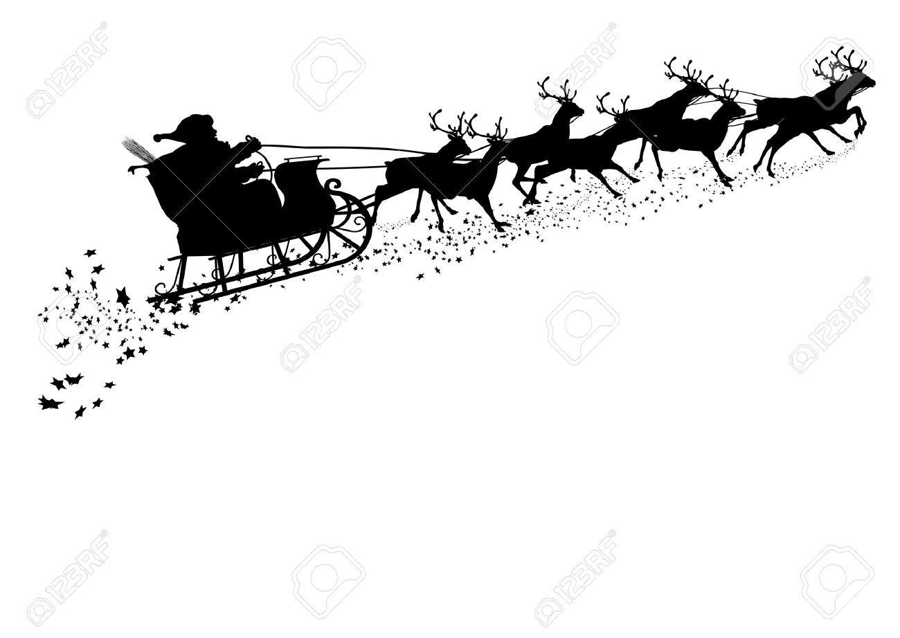 Santa Claus With Reindeer Sleigh Black Silhouette Outline