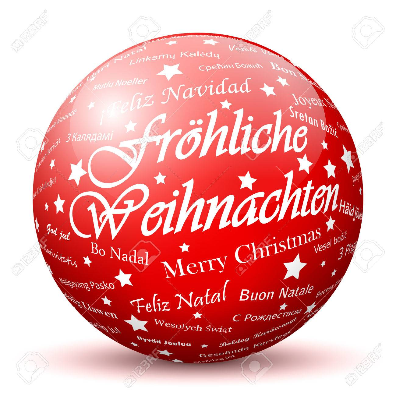 Red 3d Sphere With Mapped Merry Christmas Texture And Smooth