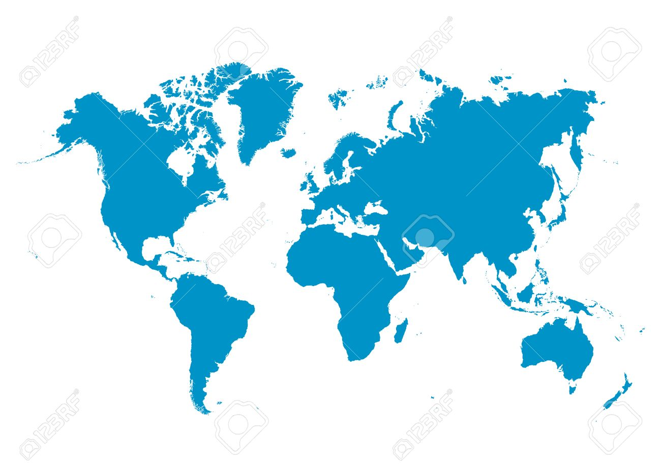 World map vector with fresh blue continents on white background vector world map vector with fresh blue continents on white background planet earth gumiabroncs Images