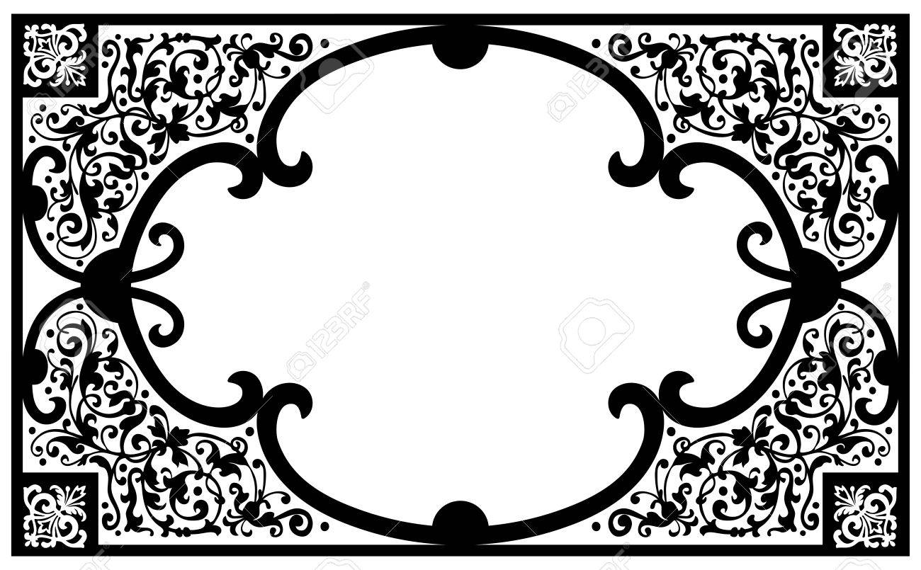 vintage vector book cover frame with flourish design elements
