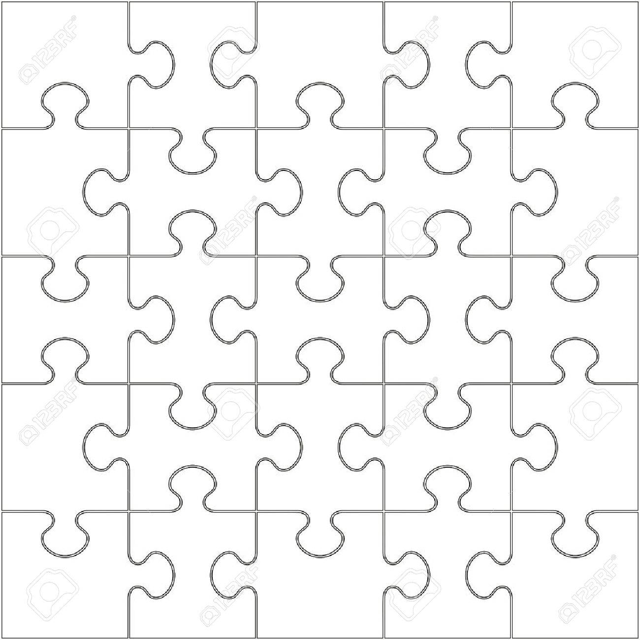 25 white puzzle pieces arranged in a square jigsaw vector