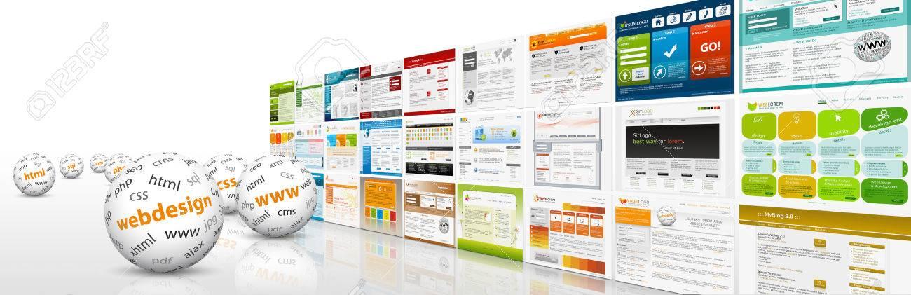 3D Bandera Sitio Web Con Esferas Y Las Plantillas Del Diseño Web Y ...