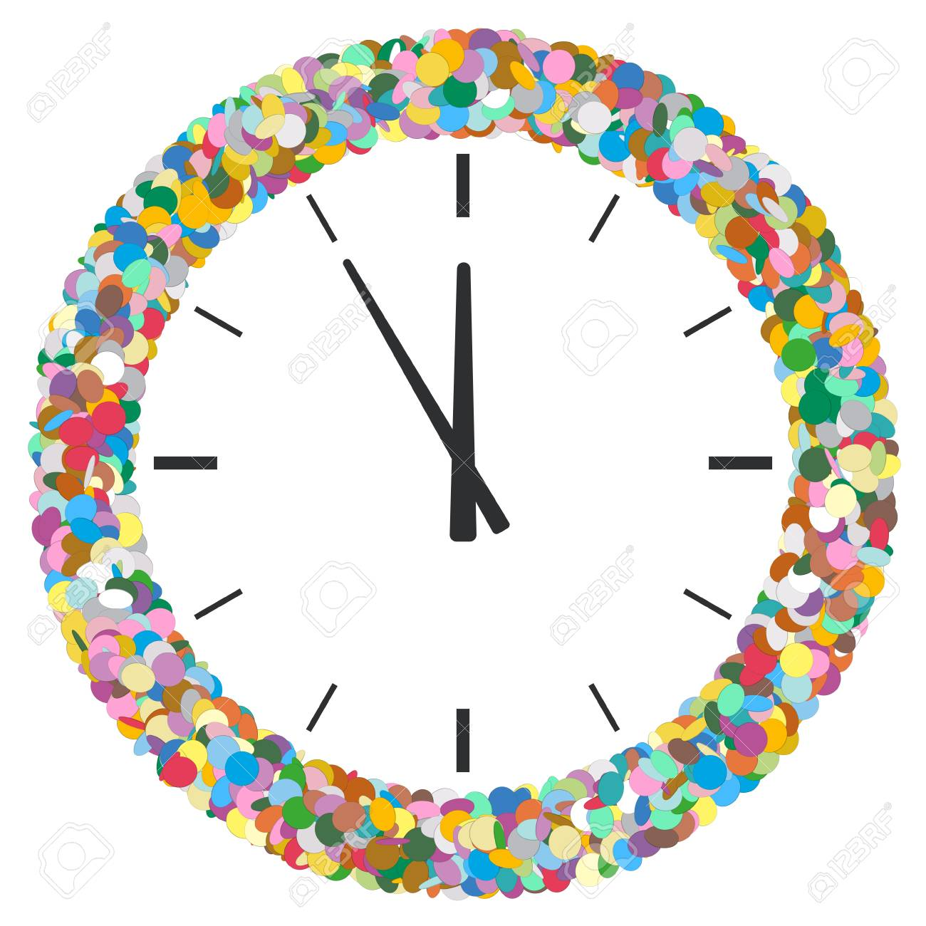 Colourful Round Abstract Frame Formed Of Confetti With Clock Stock