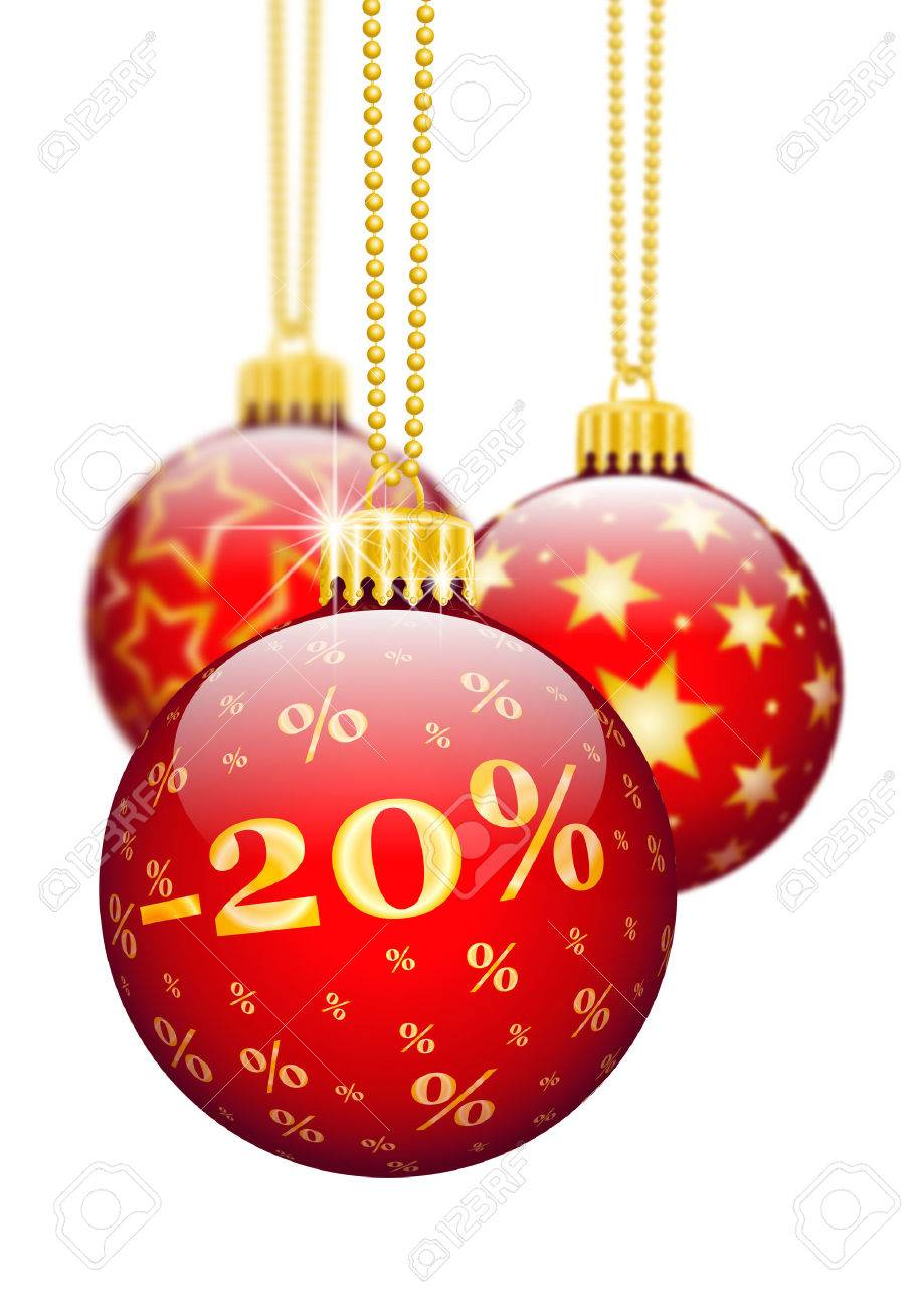 Twenty Percent 20 Price Reduction Red Christmas Baubles