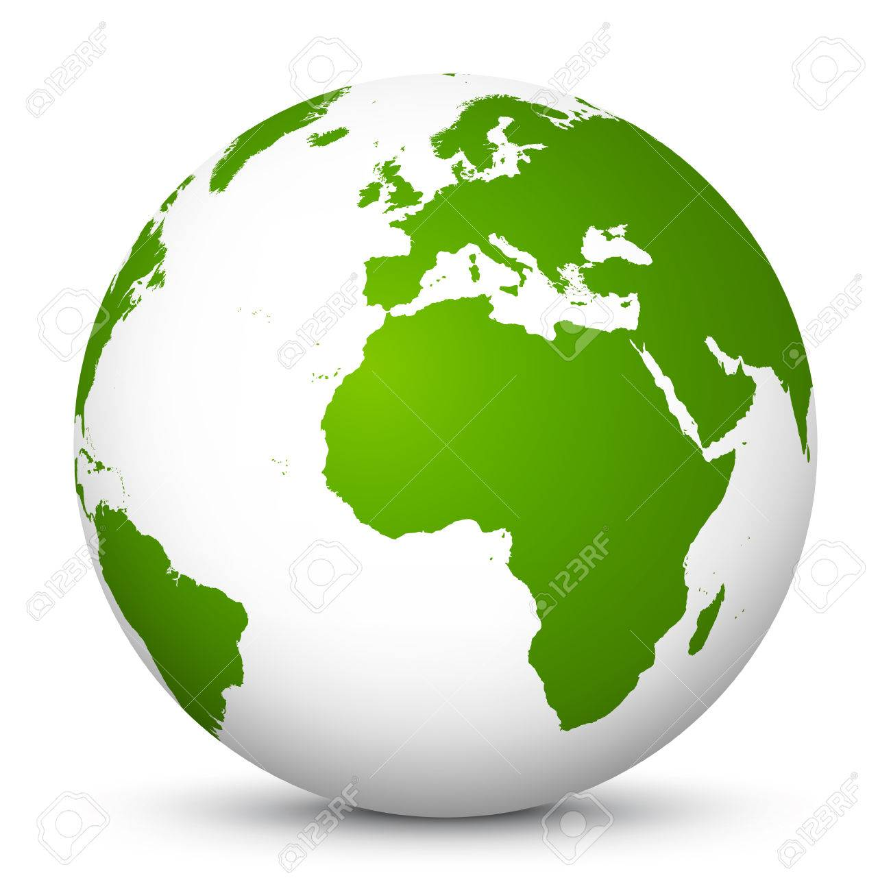 White Vector Globe Icon With Green Continents Planet Earth Stock