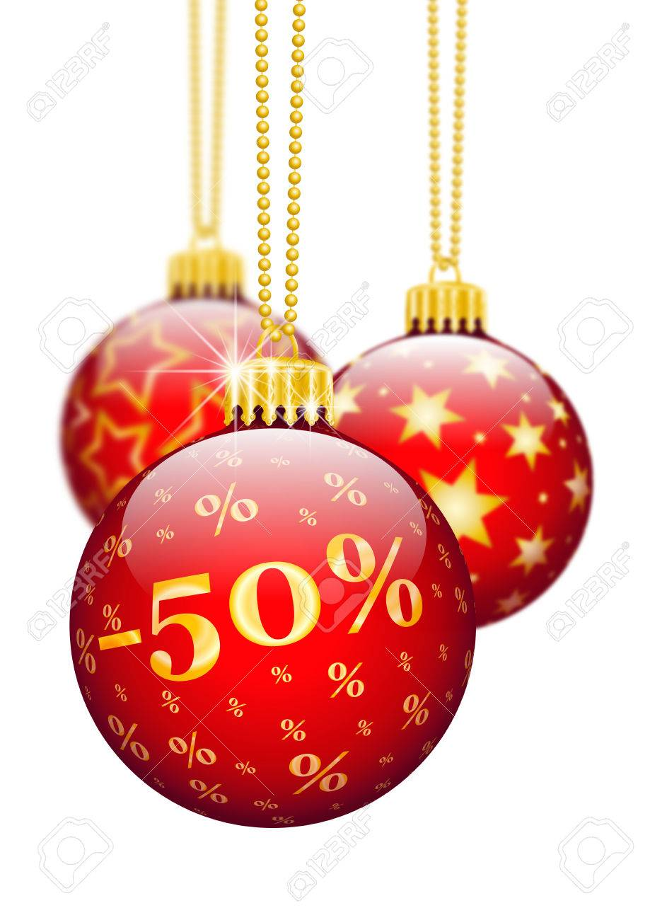 Fünfzig Prozent, 50%, Preisreduktion Red Weihnachtskugeln ...