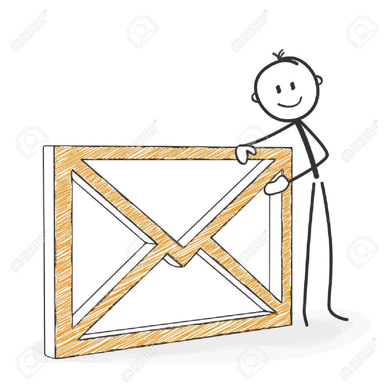 Dessin D Enveloppe chiffre de bâton en action - stickman avec une icône d'enveloppe