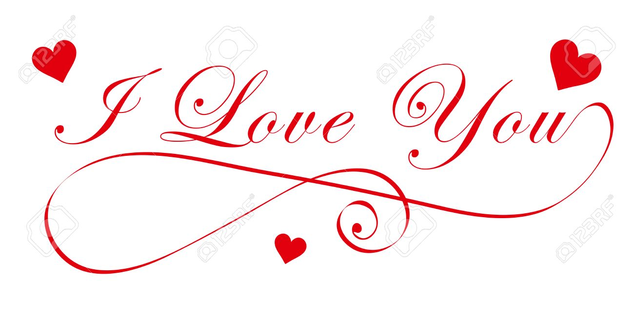 elegant - i love you - handwriting font with red heart symbols