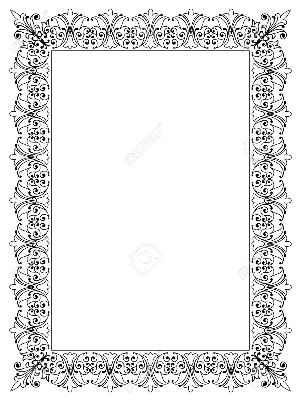 decorative vector frame template with empty space for certificate