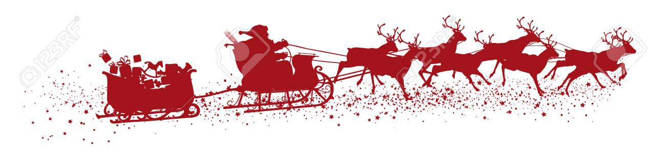 Santa Claus with Reindeer Sleigh and Trailer - Red Vector Silhouette - 110122417