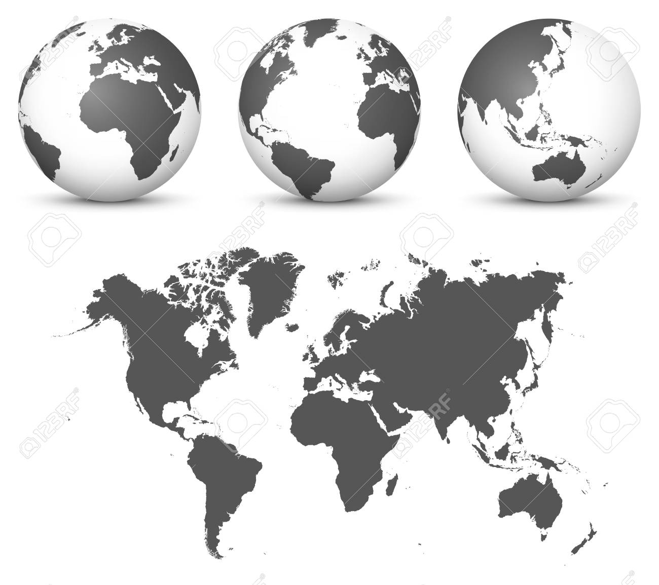 Gray 3d Globe Earth Vector Set With Undistorted 2d World Map
