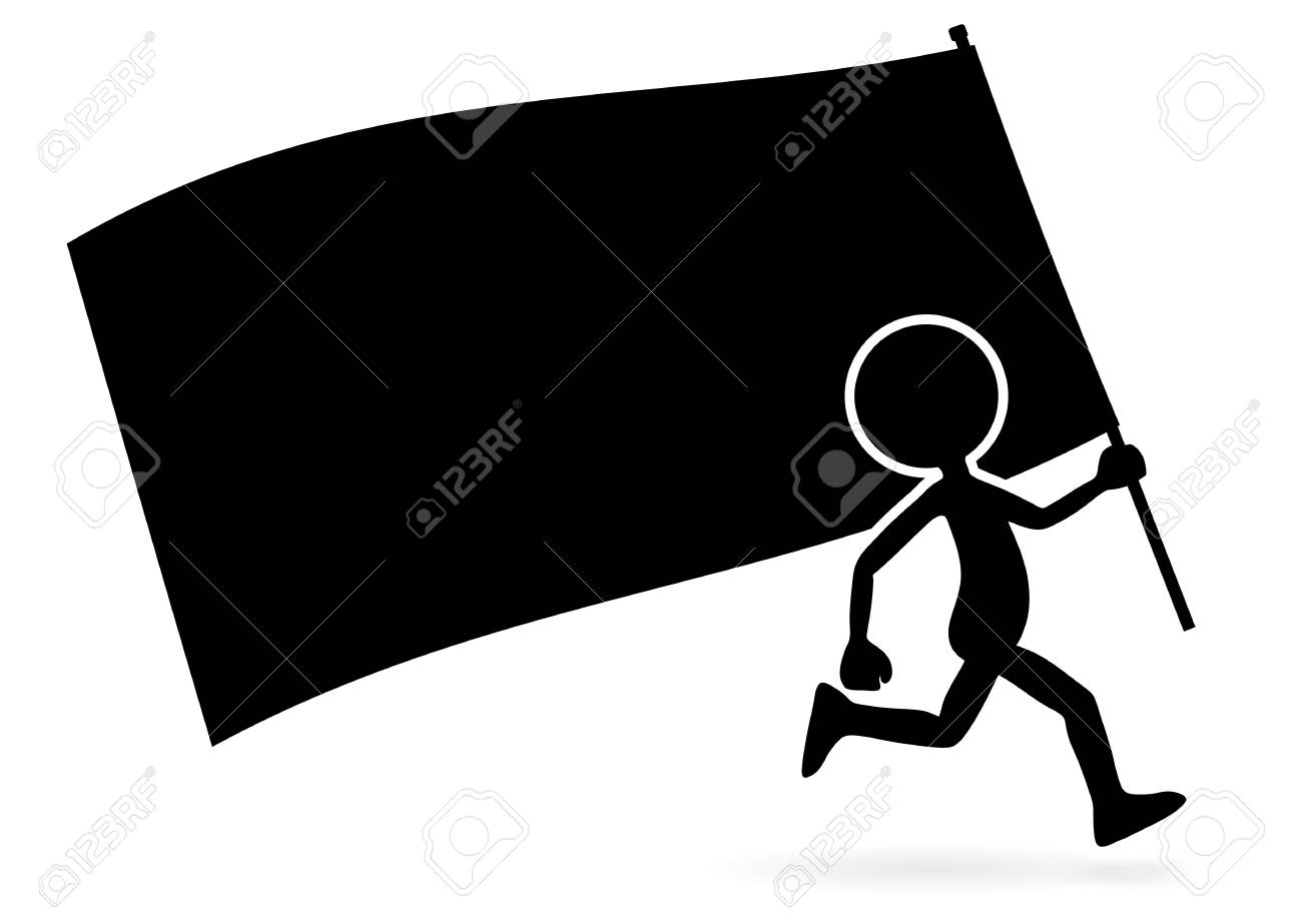 Running Vector Cartoon Standard Bearer - Silhouette with Flag Isolated on White Background. Black Simple Illustration Template for Domonstration Flyer or other Activities and Graphic Ideas. - 113573253