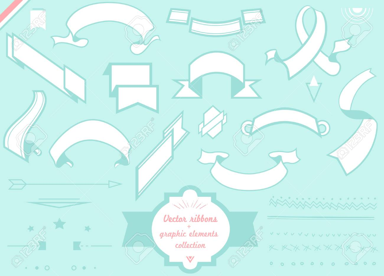 vector ribbons, frames and graphic elements collection Stock Vector - 20325434