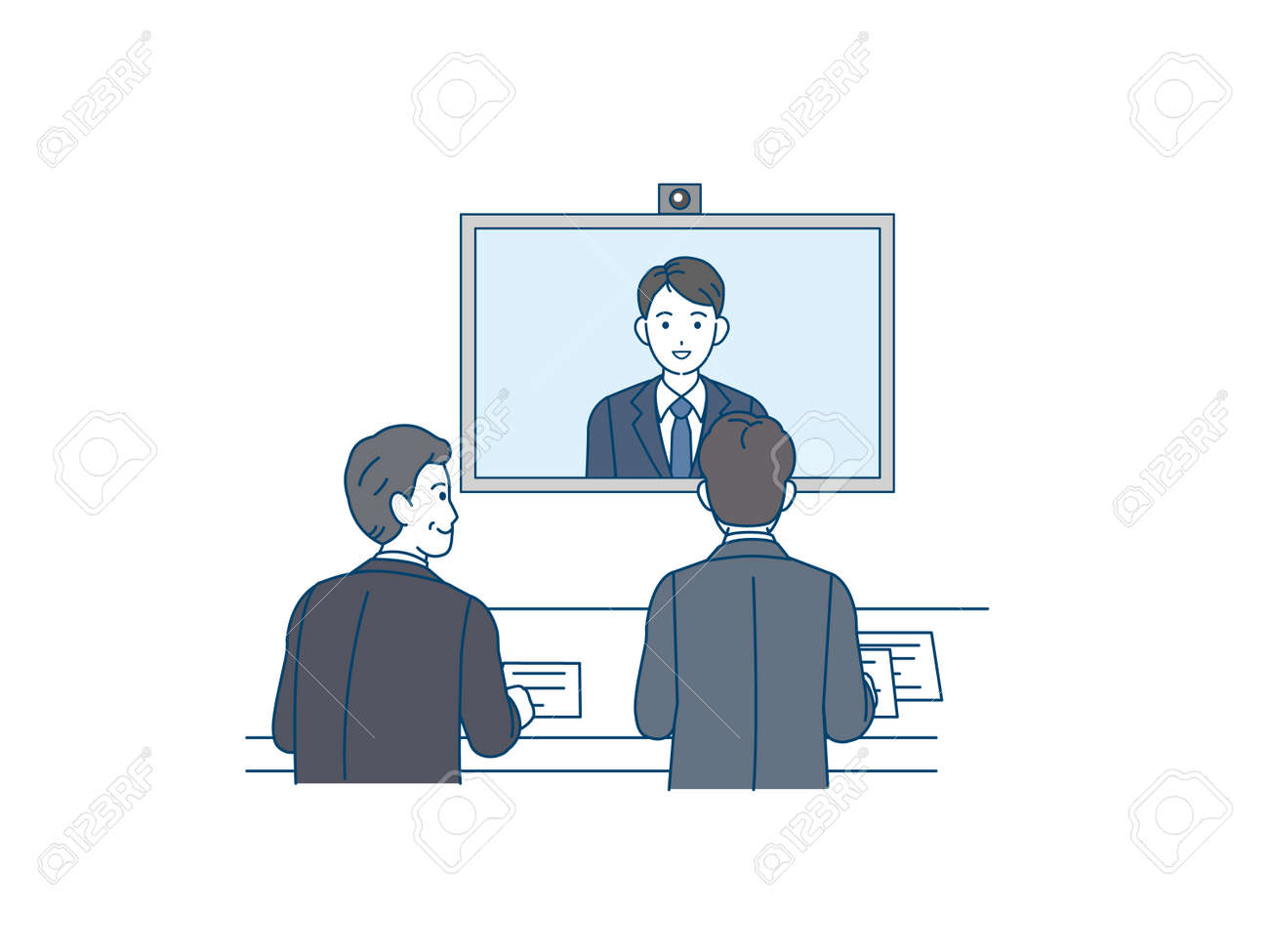 It is an illustration of a Remote interviewer. - 167778358