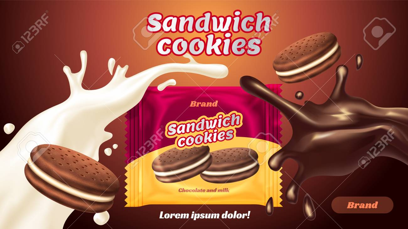 Sandwich cookies ads, milk chocolate flavor with tasty liquid twisted in the air and package in 3d illustration - 86903215