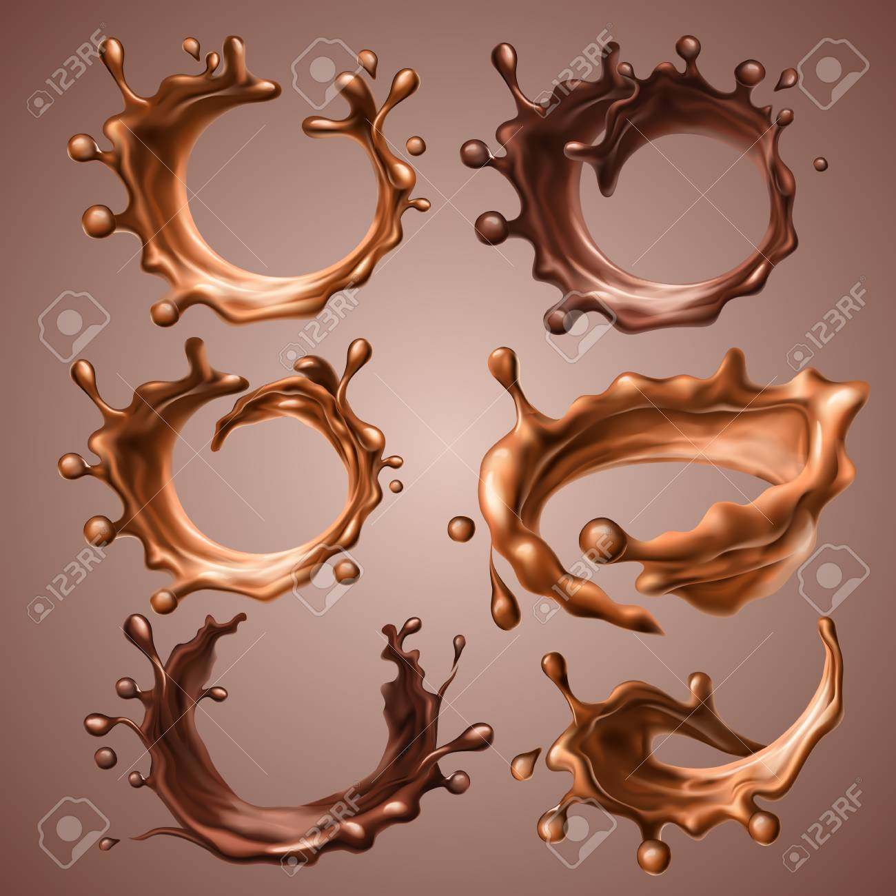 Set of realistic splashes and drops of melted milk and dark chocolate. Dynamic circle splashes of whirl liquid chocolate, hot coffee, cocoa. Design elements for packaging. Vector 3d illustration. - 96686934