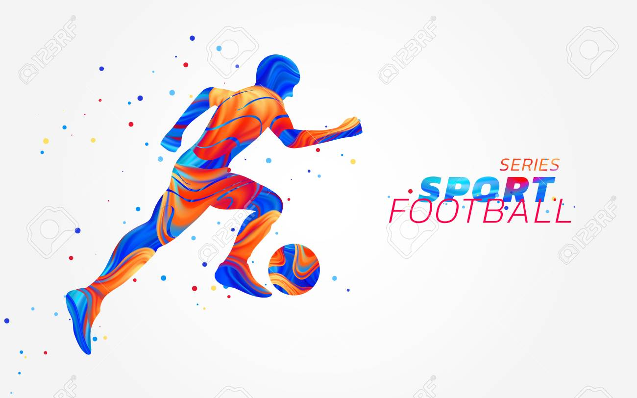 Vector football player with colorful spots isolated on white background. Liquid design with colored paintbrush. Soccer illustration with ball. Sports, athletics or competition theme. Winning concept. - 102792772
