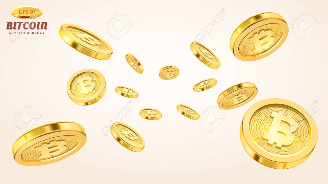 Cryptocurrency concept or electronic payments. Vector technology 3d illustration. Realistic gold coins explosion or splash on white background. Rain of golden bitcoins. Falling or flying money. - 107315309