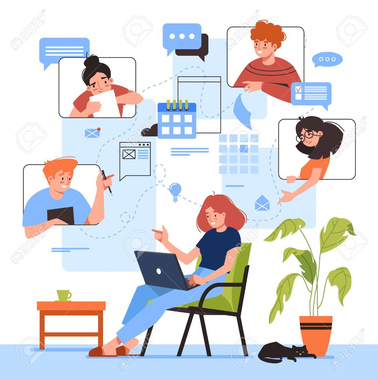Online Meeting Vector Illustration Design Woman With Laptop Royalty Free Cliparts Vectors And Stock Illustration Image 152610372