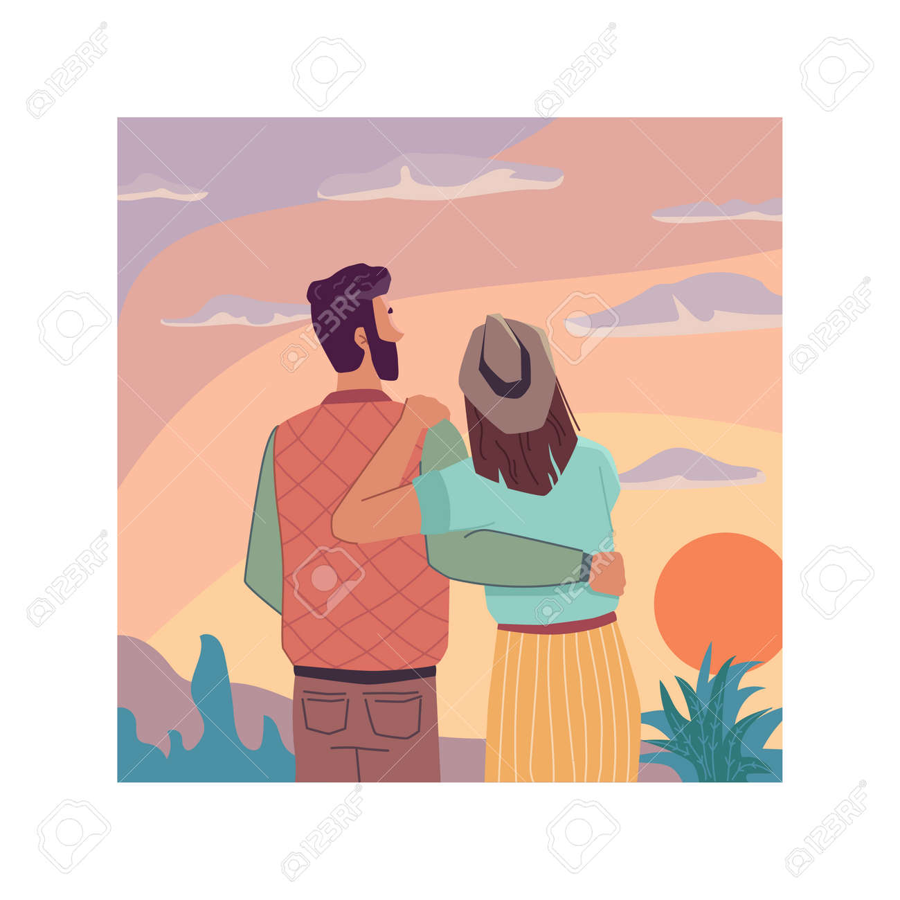 Sunrise or sunset landscape, flat cartoon travel people looking at sky, back view. Vector couple in love observation nature and dreaming together. Evening dreams, inspiration and imagination - 167018784