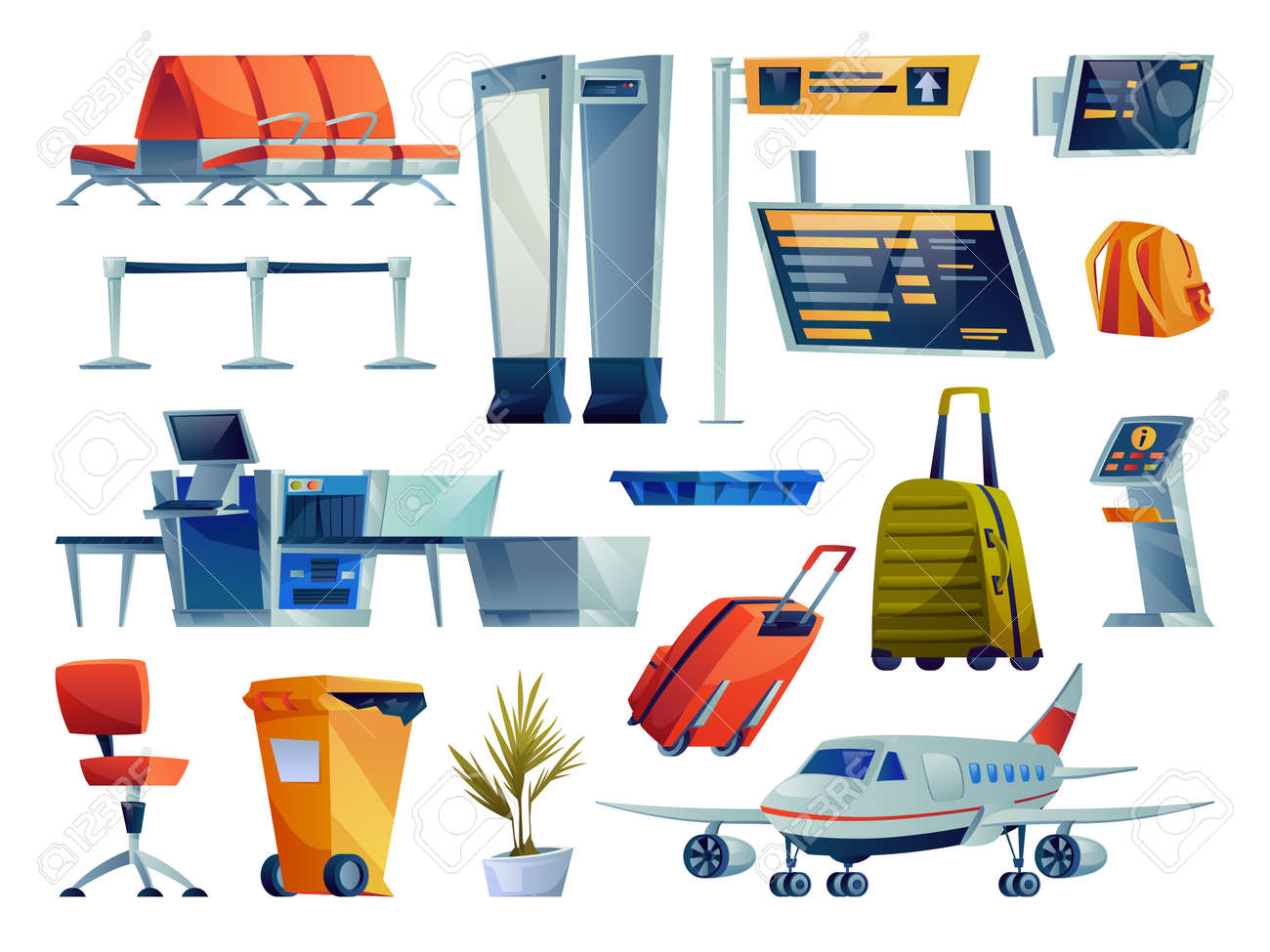 Set of airport cartoon icons isolated. Vector chairs seats row, boarding pass gates, check in boards and terminals. Plane, x-ray scan, luggage bags, litter container and plant, kiosk checking flight - 168336157