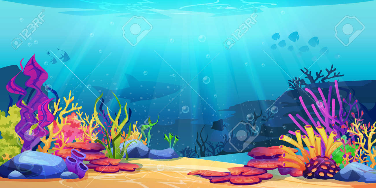 Coral reef underwater world with marine animals silhouettes and algae seaweeds, sea bottom cartoon background. Vector undersea plants, aquarium with seafloor, marine wildlife scenery on depth - 169018750
