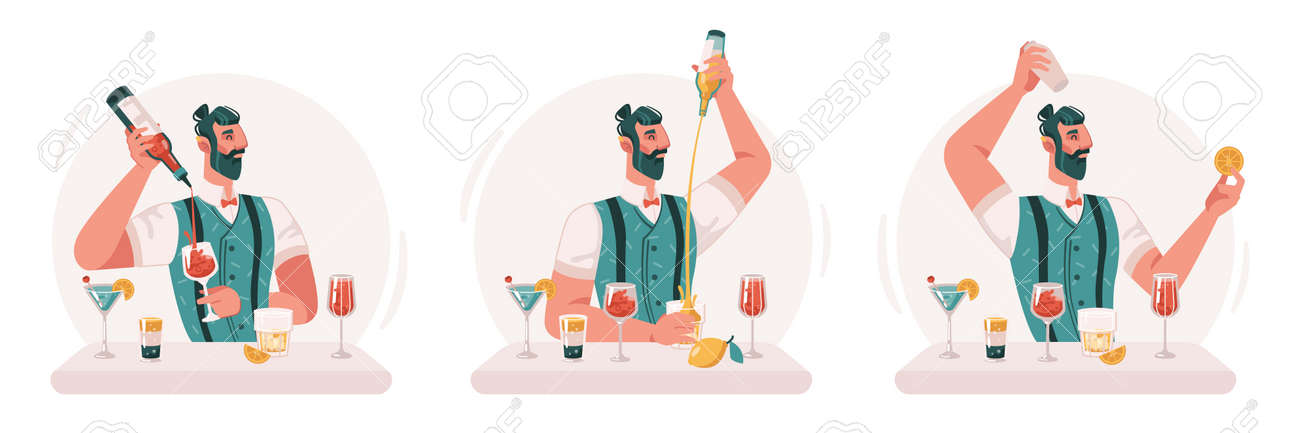 Skillful professional barman making cocktails and alcoholic drinks in bar or pub. Isolated virtuoso bartender with bottles and glasses, fruits and citrus. Flat cartoon character vector illustration - 171281445