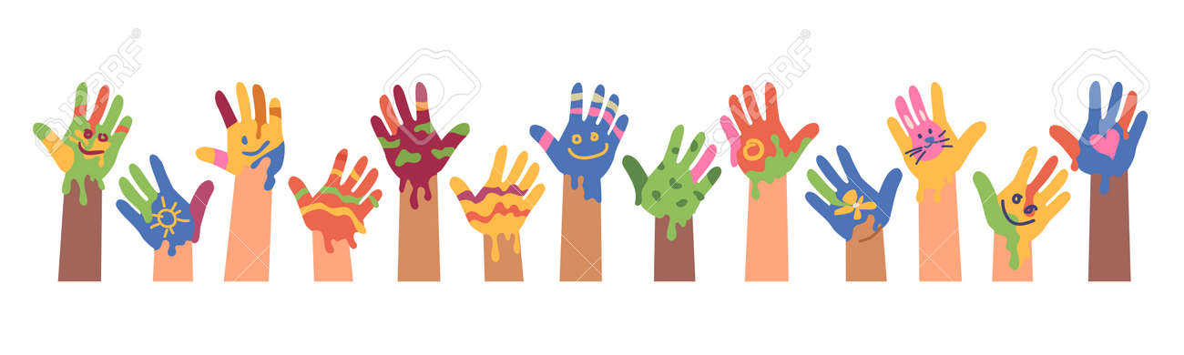 Children drawings and art, kid hands with colorful paints. Isolated banner of children art. Peace and positivity symbol. Imprint and trace, painters and artists. Flat cartoon vector illustration - 171281448