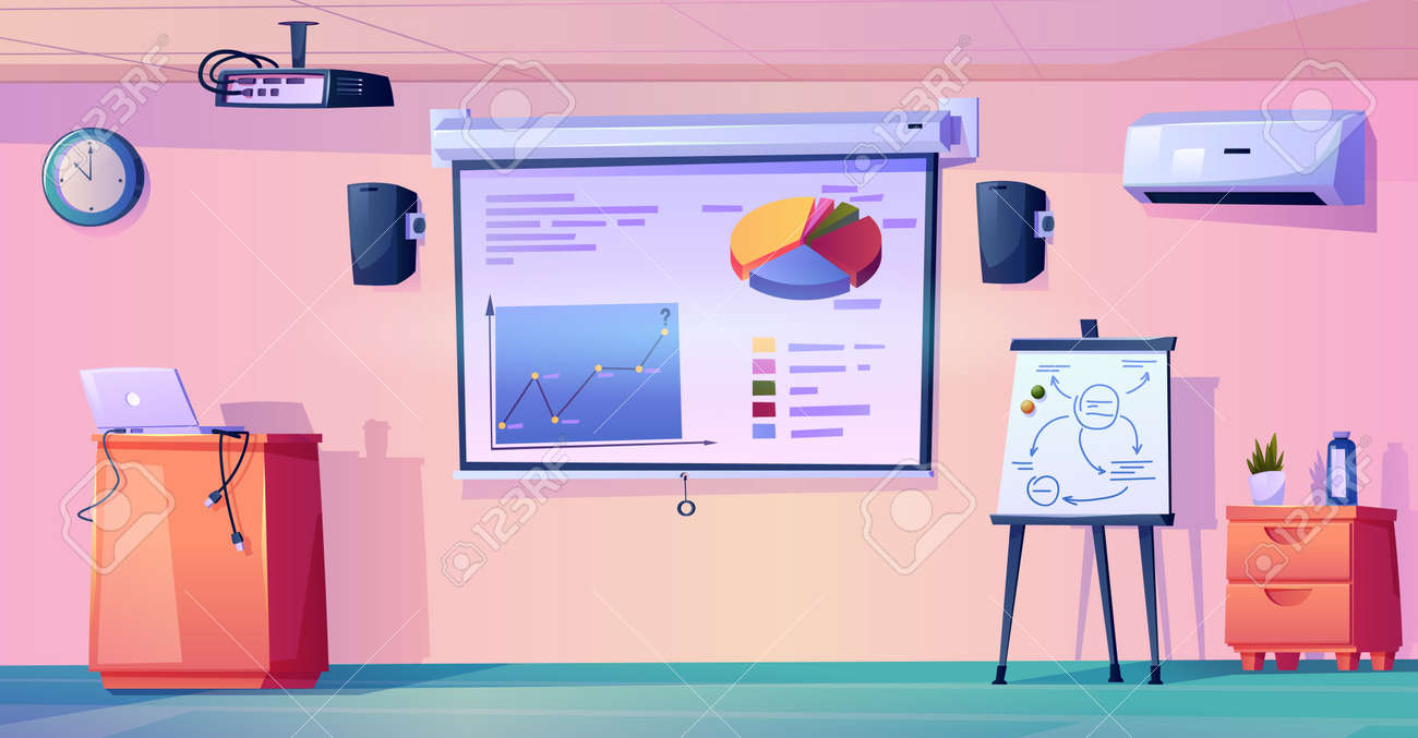 Interior of modern classroom of school, college or university. Empty room with whiteboard and charts, laptop and projector. Meeting or conference hall in business office. Flat cartoon style vector - 171281451