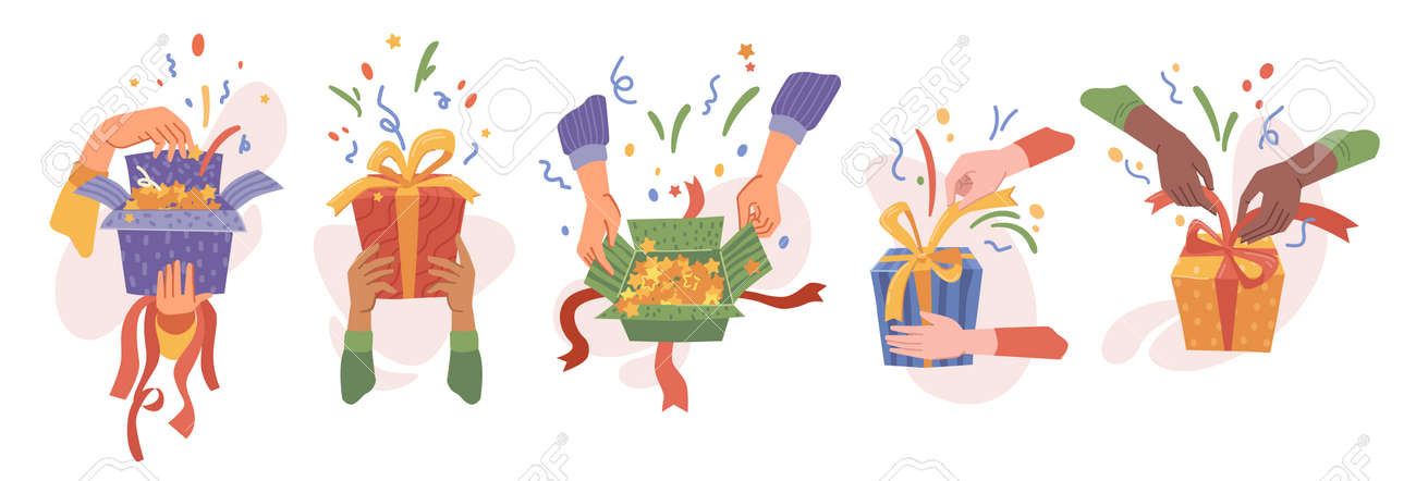 Hands packing or unpacking presents in boxes, isolated set of opening gifts. Celebration and surprise for holiday or special event. Birthday or christmas festivity. Vector in flat cartoon style - 171582102