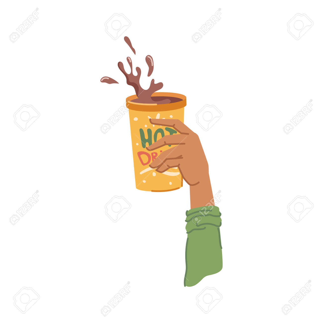 Cup with hot chocolate or coffee, isolated hand holding tasty warm drink served in restaurant or cafe. Aromatic beverage in mug, splashes of liquid advertisement. Vector in flat cartoon style - 171589766