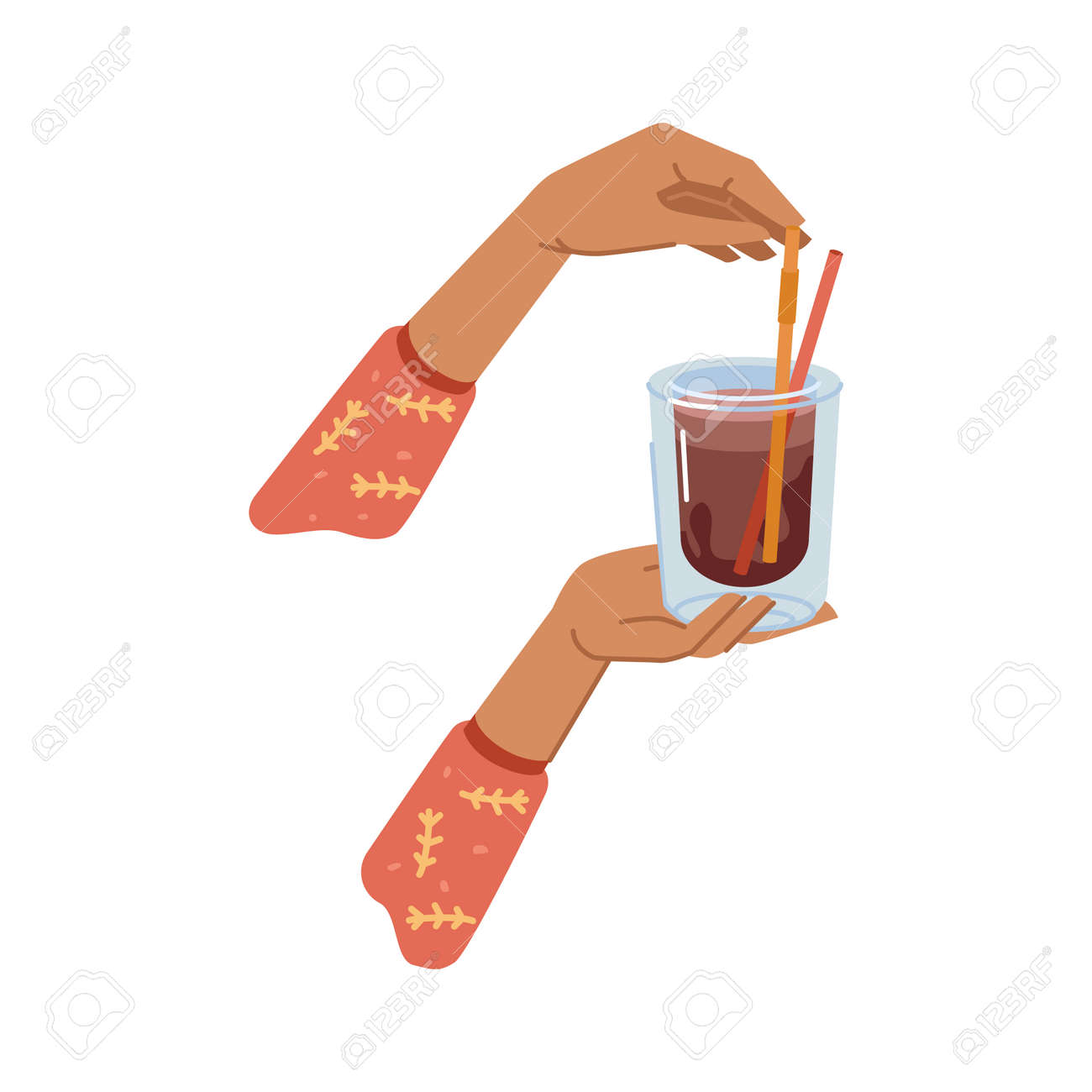 Cocoa or tea hot beverage poured in glass cup with decorative straw. Hands holding mug with drink, coffee or latte, delicious caffeine cappuccino for breakfast or lunch. Vector in flat cartoon style - 171589764