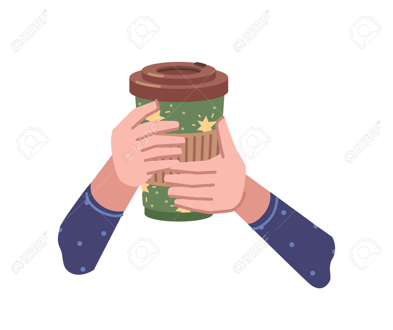 Take away coffee, hot beverage poured in paper or plastic cup. Isolated hands holding tasty drink with lid, chocolate or cappuccino, americano or espresso to go. Vector in flat cartoon style - 171589767