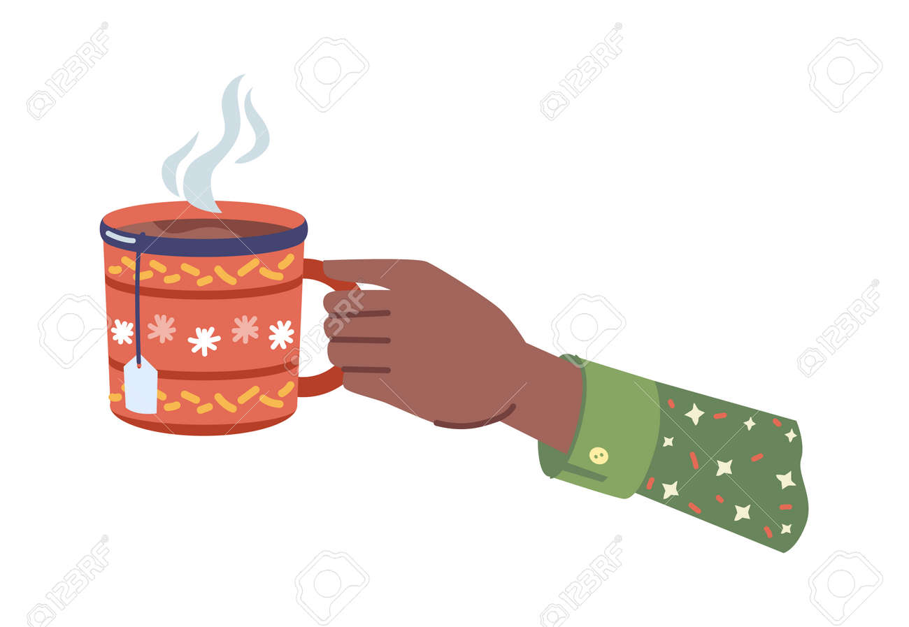 Hot beverage with steam poured in cup with xmas ornaments. Isolated hands holding mug of coffee or tea, tasty drink in cafe or restaurant. Homemade herbal liquid. Vector in flat cartoon style - 171589769