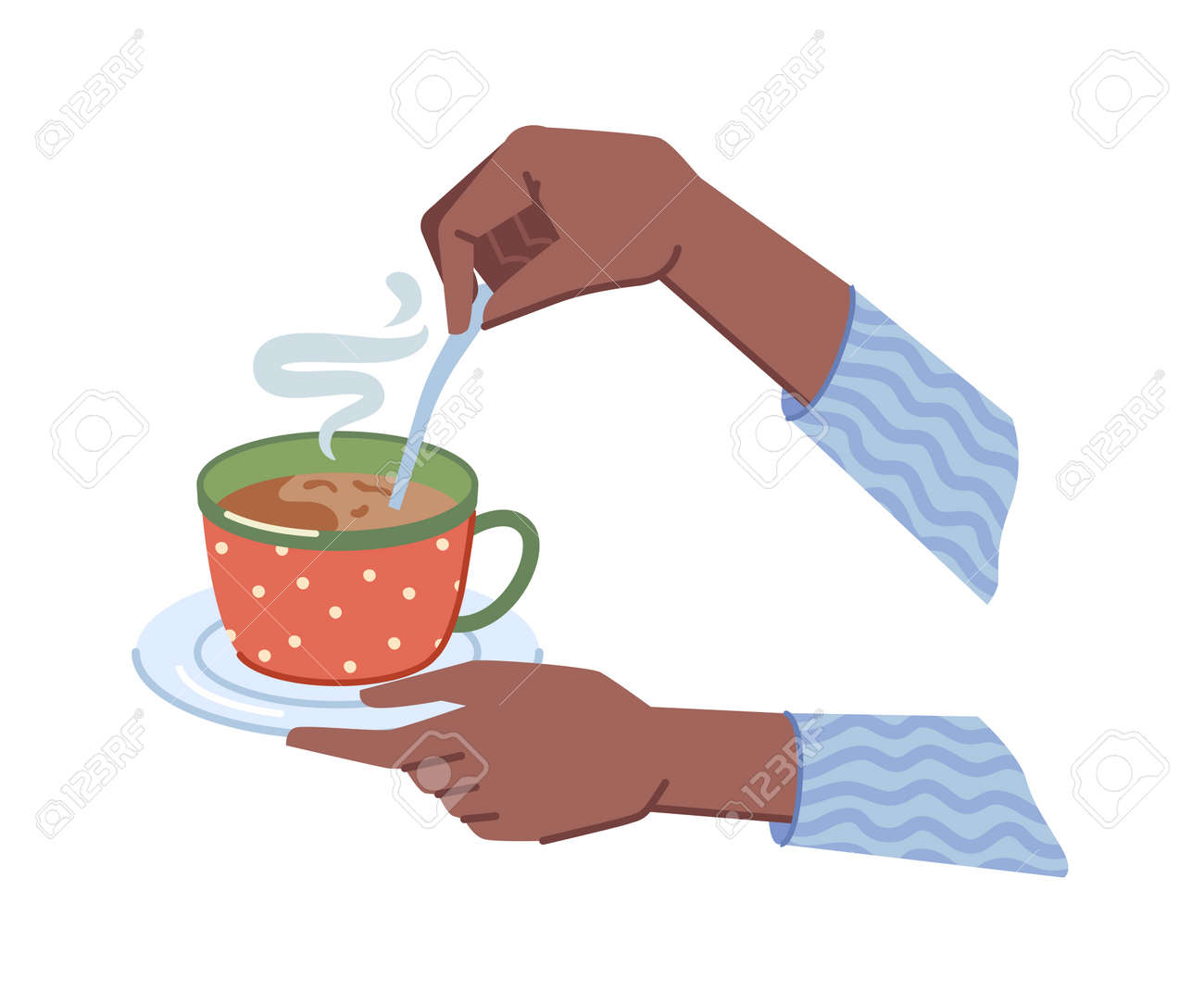 Coffee or hot chocolate drink poured in cup and served with saucer and spoon. Isolated hands holding mug of tea, cappuccino or latte with steam. Cafe or restaurant. Vector in flat cartoon style - 171589768