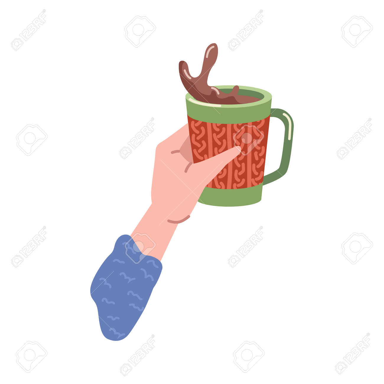 Beverage splash in cup of coffee or hot chocolate drink. Isolated hand holding tasty cappuccino in mug, served portion in cafe or restaurant. Americano or espresso. Vector in flat cartoon style - 171589770
