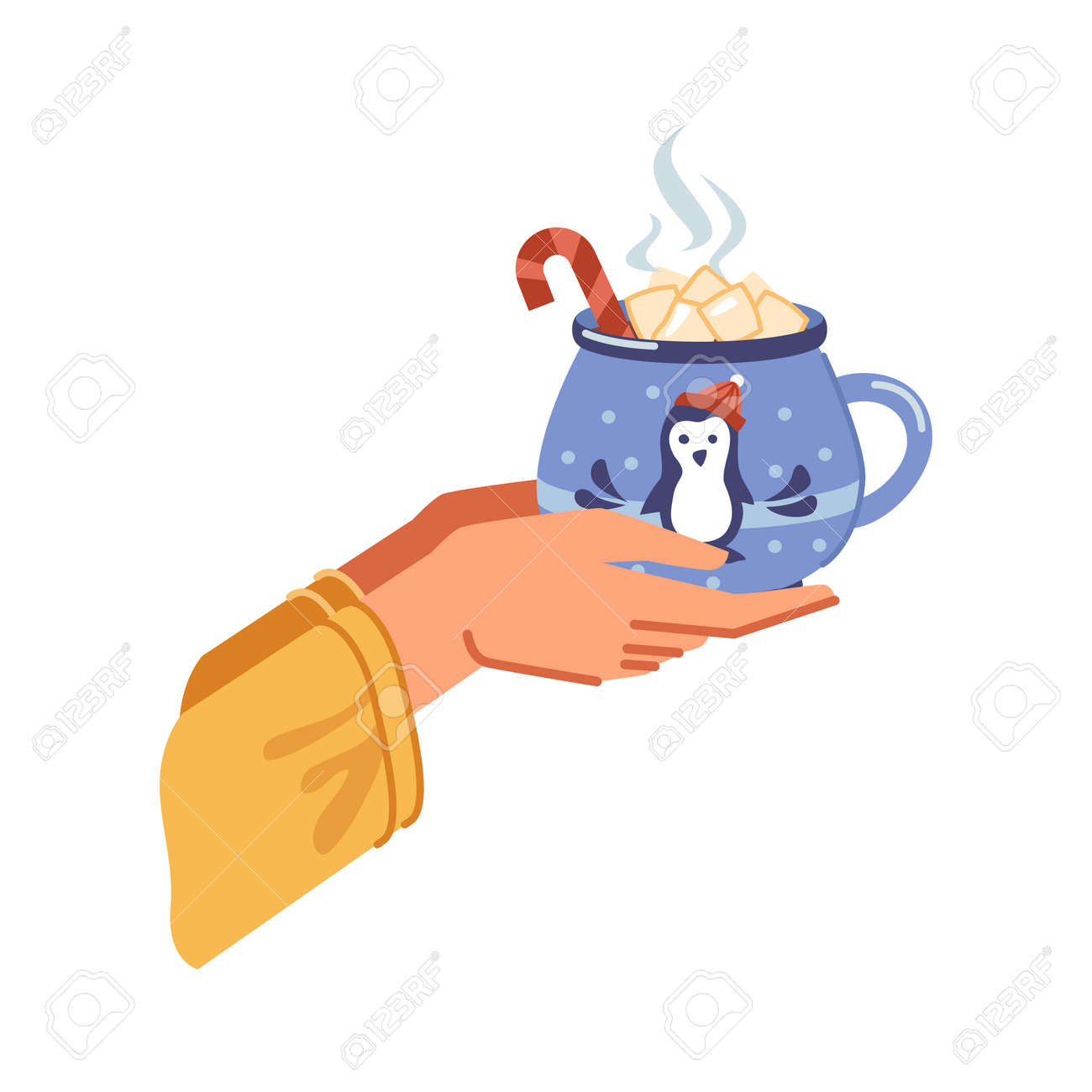 Traditional winter drink of cocoa with melting marshmallows poured in cup. Hands holding beverage with candy stick, mug with xmas penguin decoration. Vector in flat cartoon style illustration - 171589771