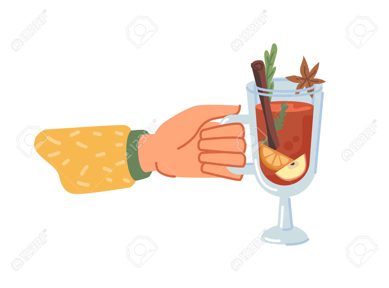 Hot beverage served in glass cup, isolated hand holding mulled wine with spices. Drink with anise and cinnamon stick, citrus slice and delicious flavor. Christmas menu. Vector in flat cartoon style - 171589775